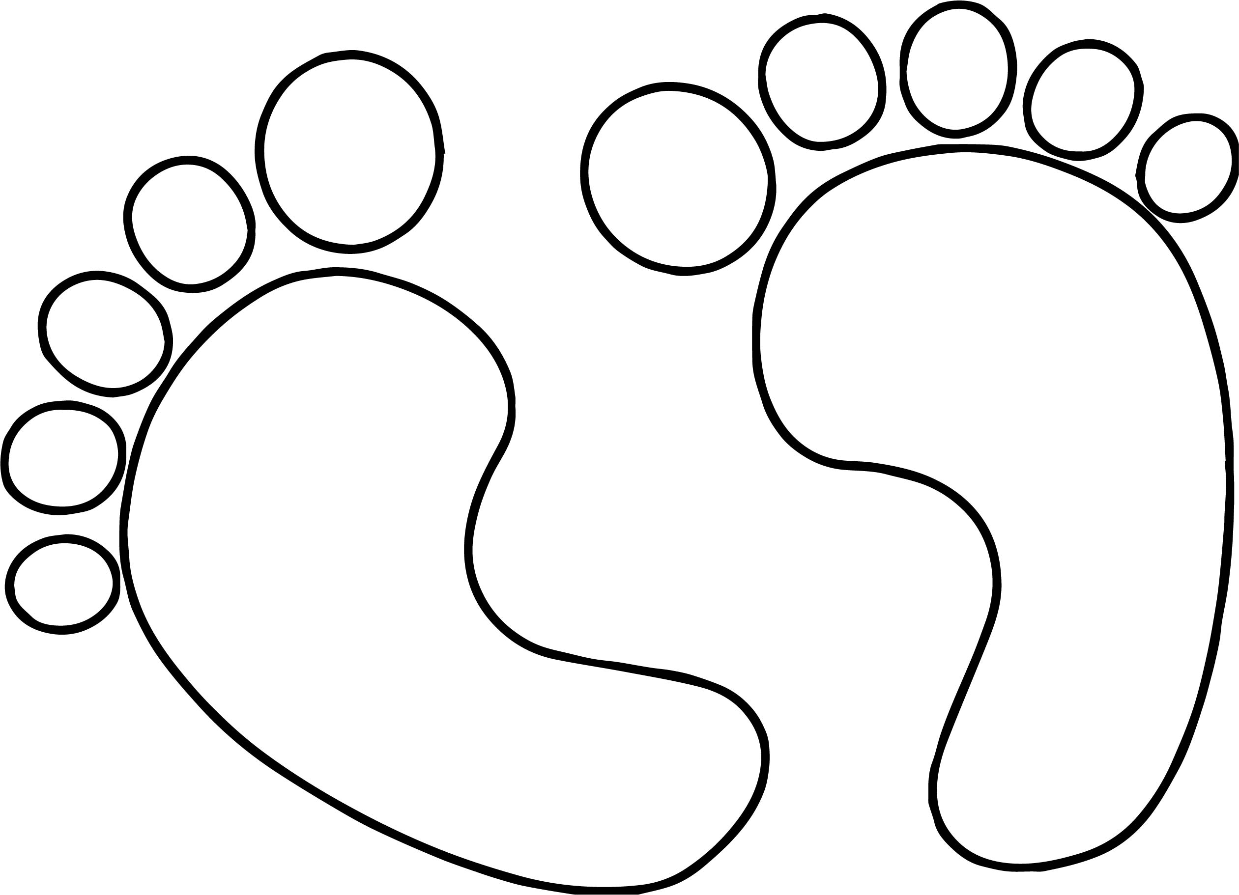 Two Baby Boy Footprint Coloring Page