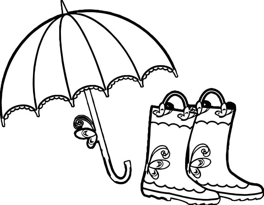 umbrella and boots april coloring page  wecoloringpage