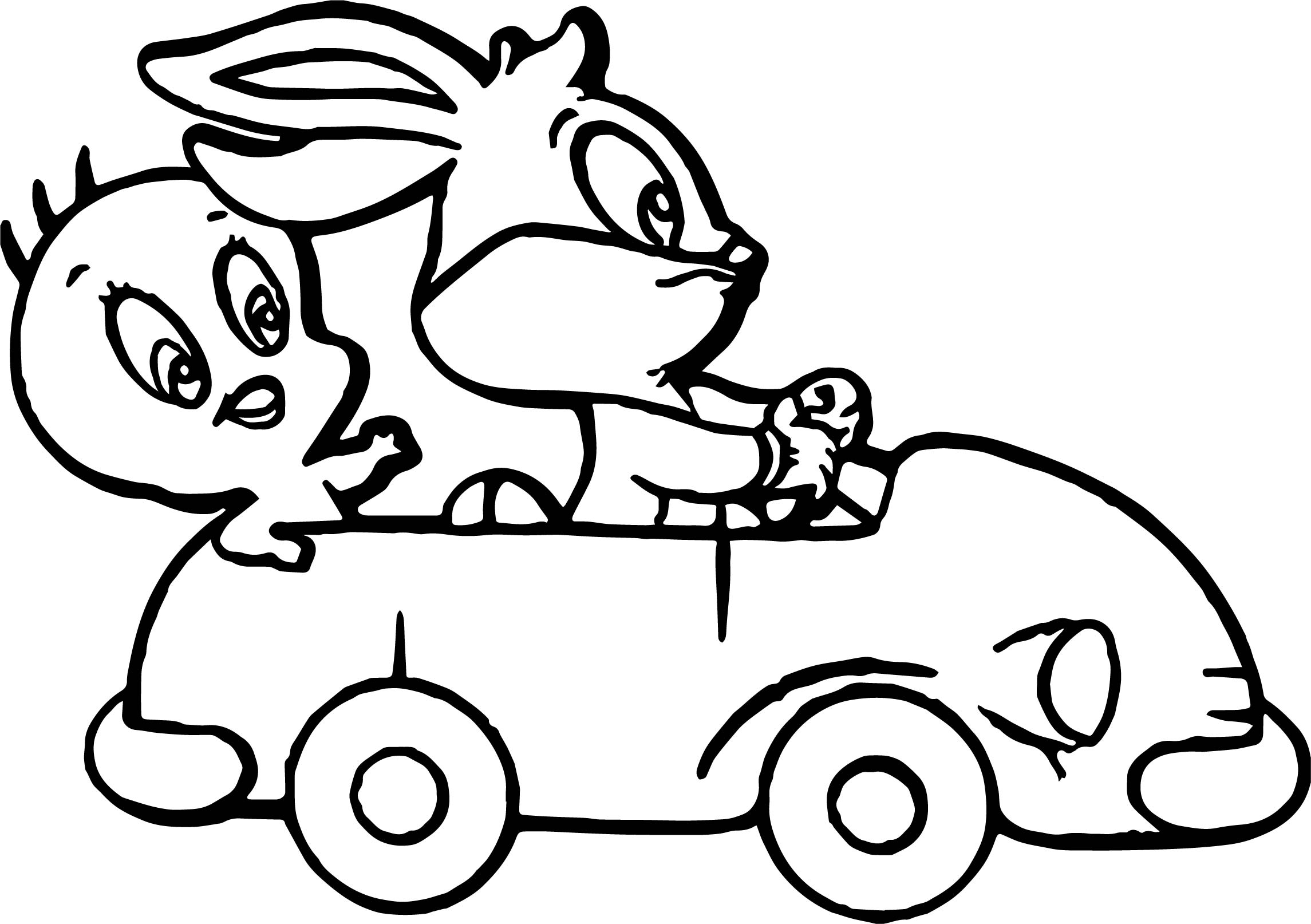 Baby Tweety Baby Bugs Bunny Driving Toy Car Coloring Page
