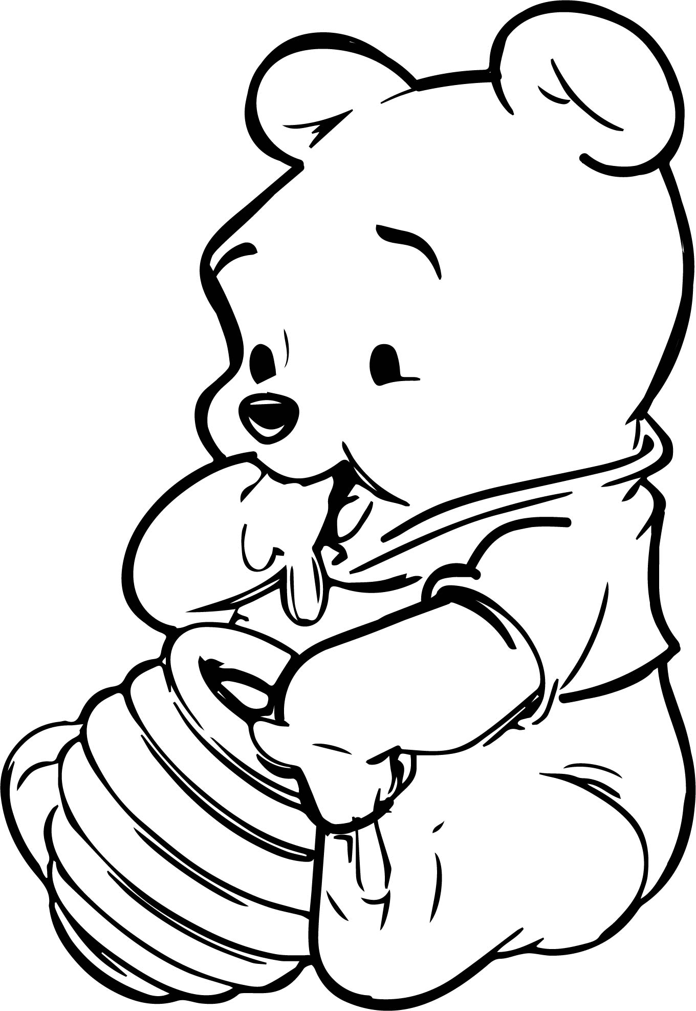 Baby Winnie The Pooh Honey Coloring Page