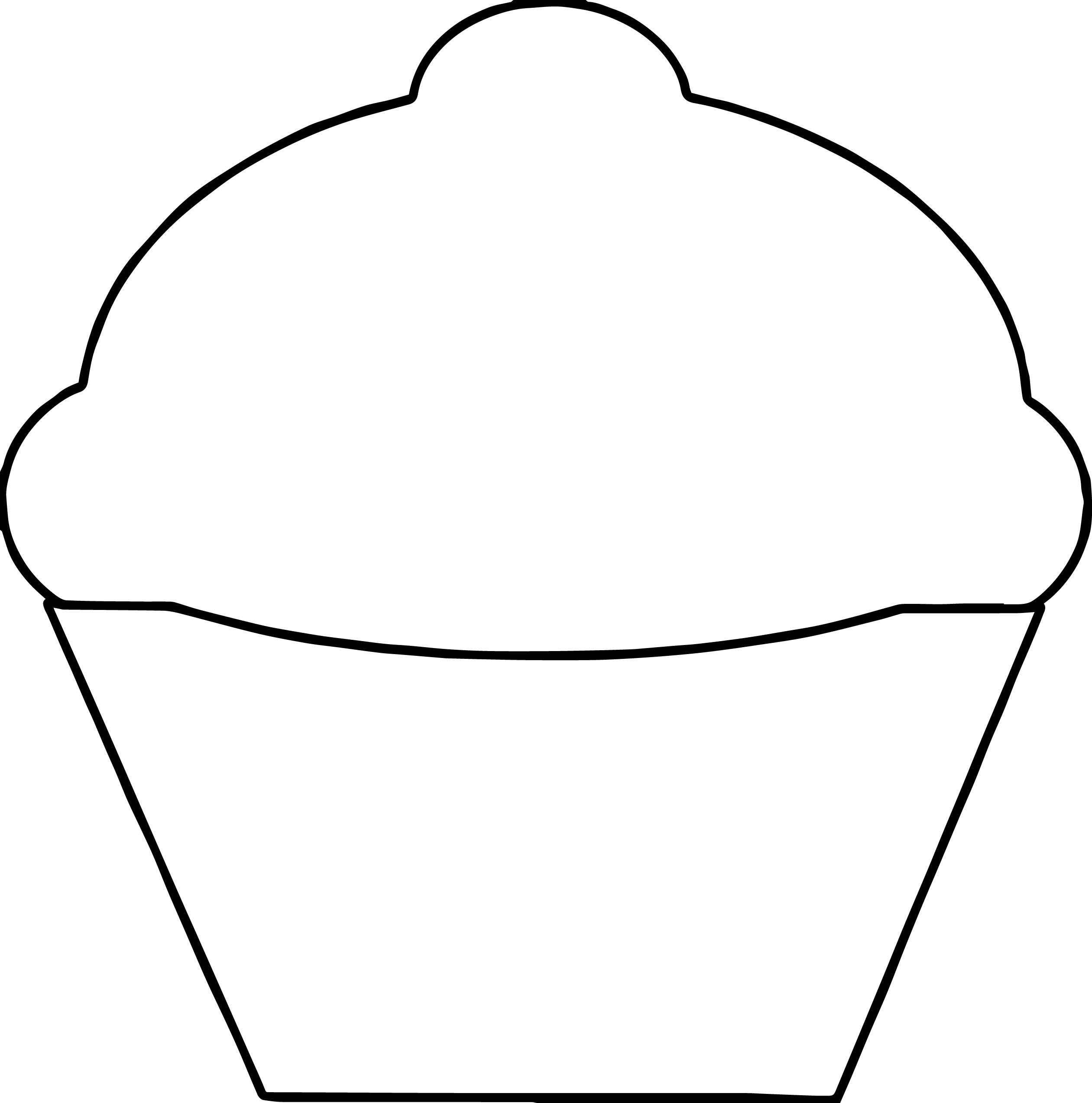 Basic Empty Cupcake Coloring Page Wecoloringpage