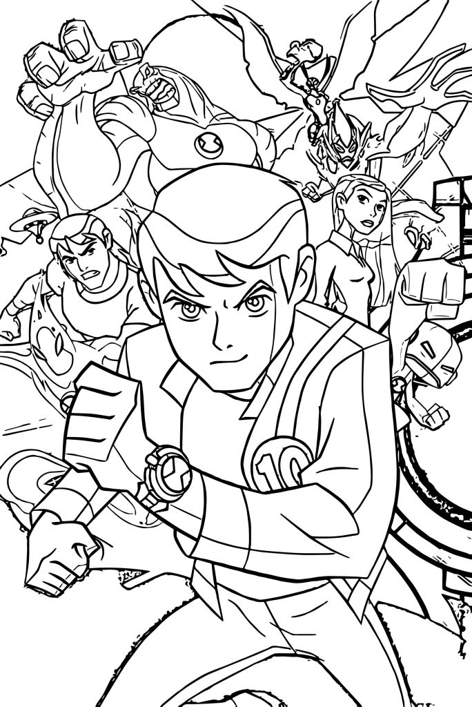 Benten Ben10 Alien Force Group Poster Coloring Page