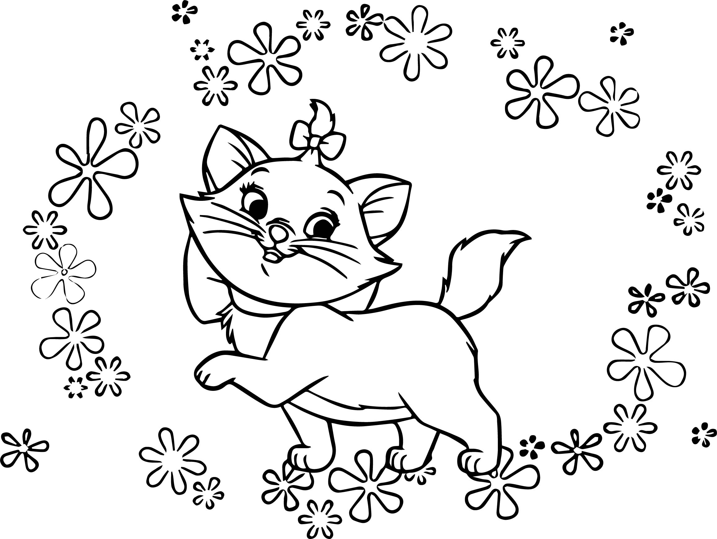 Disney The Flowers Aristocats Coloring Page Wecoloringpage