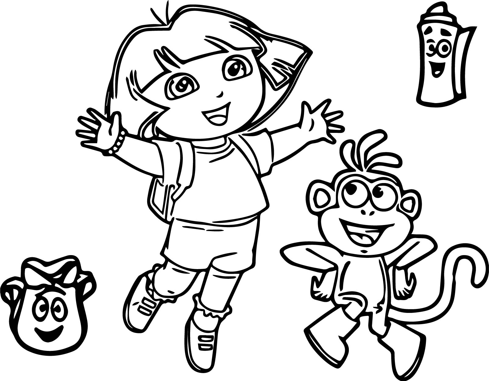 Adult Dora Coloring Page The Dora The Explorer Party Cartoon