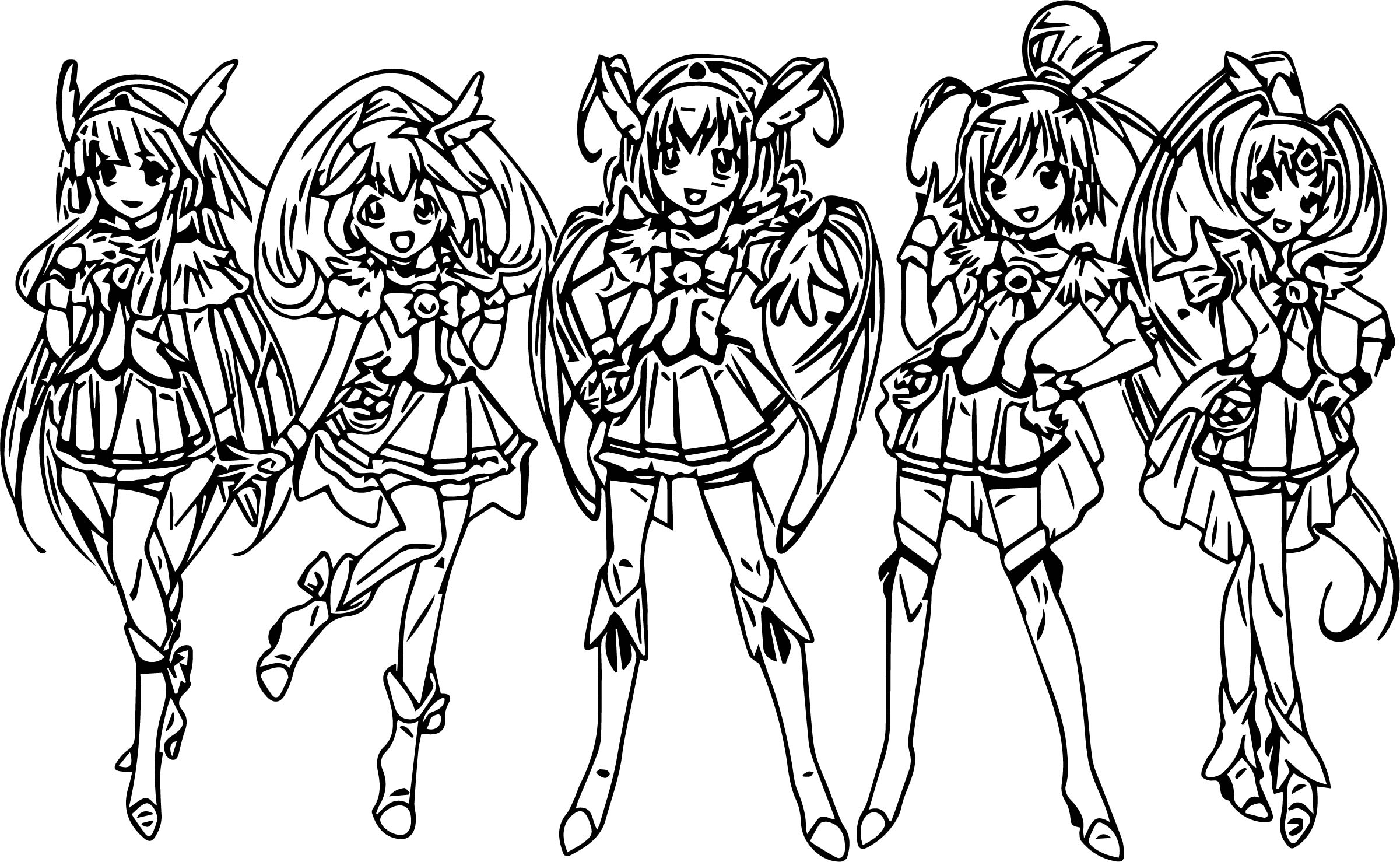 Five Girl Glitter Force Coloring Page Wecoloringpage