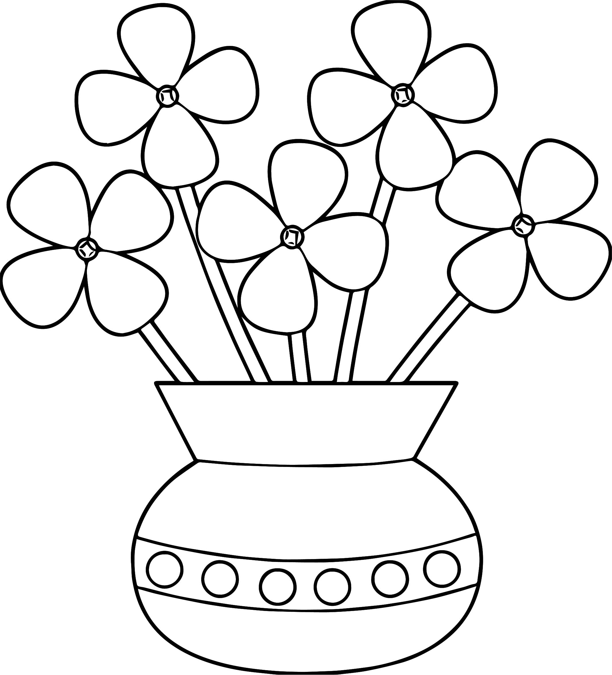 Blossom Flower Pots Pages Coloring Pages
