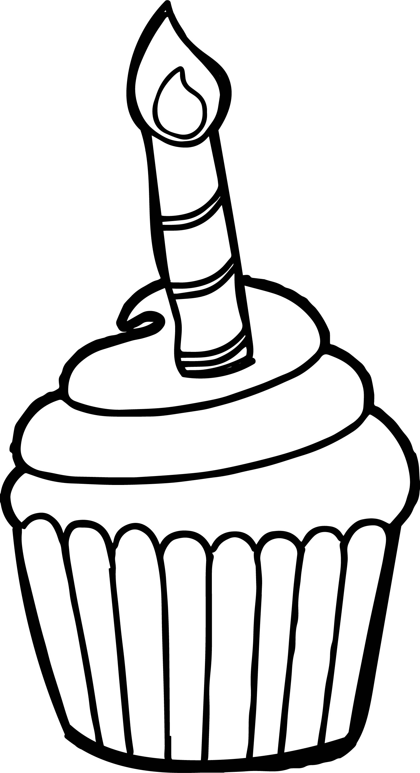 Good Birthday Cupcakes Coloring Page