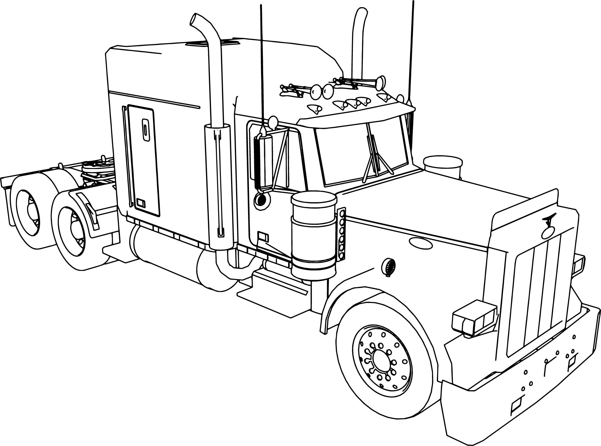 Peterbilt 379 Long Trailer Truck Coloring Page