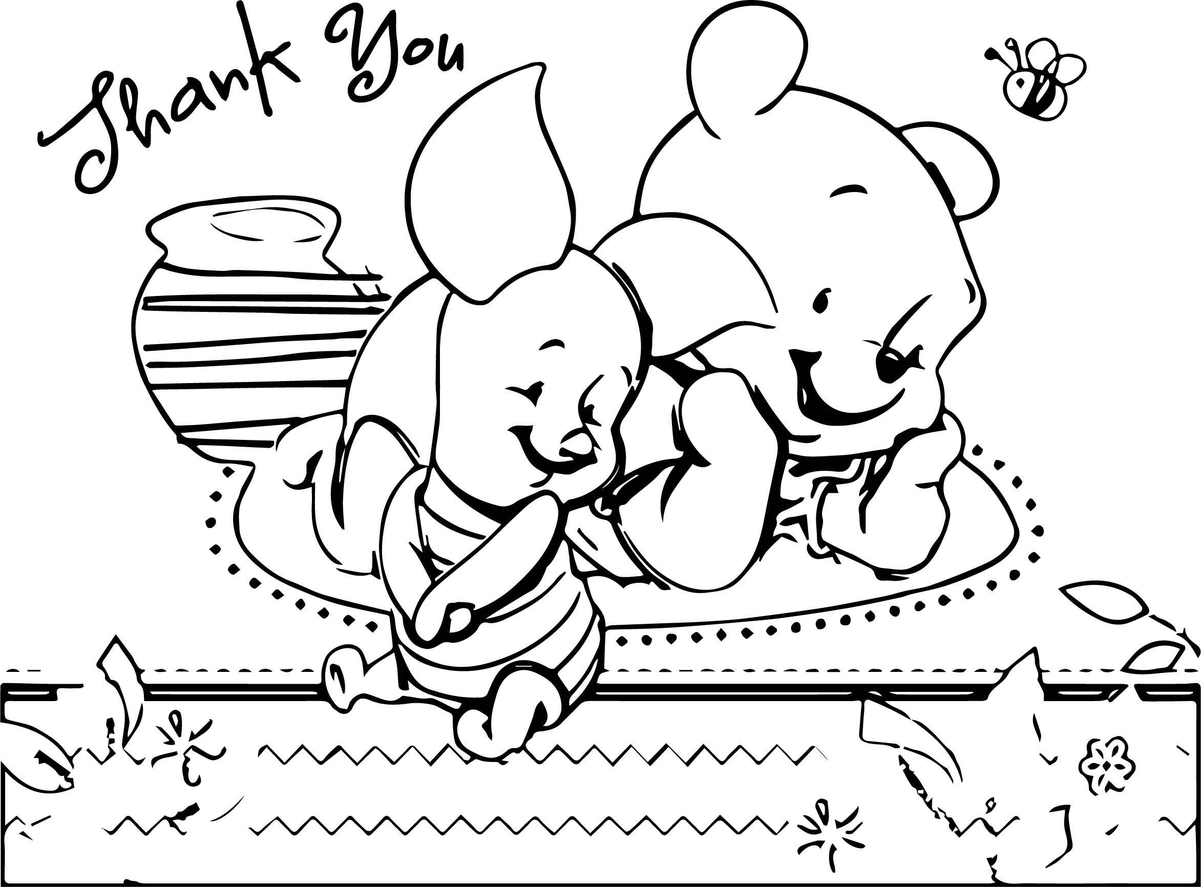 Pooh Bear Baby Thank You Coloring Page