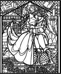 Belle Beast Stained Glass Coloring Pages   Wecoloringpage.com