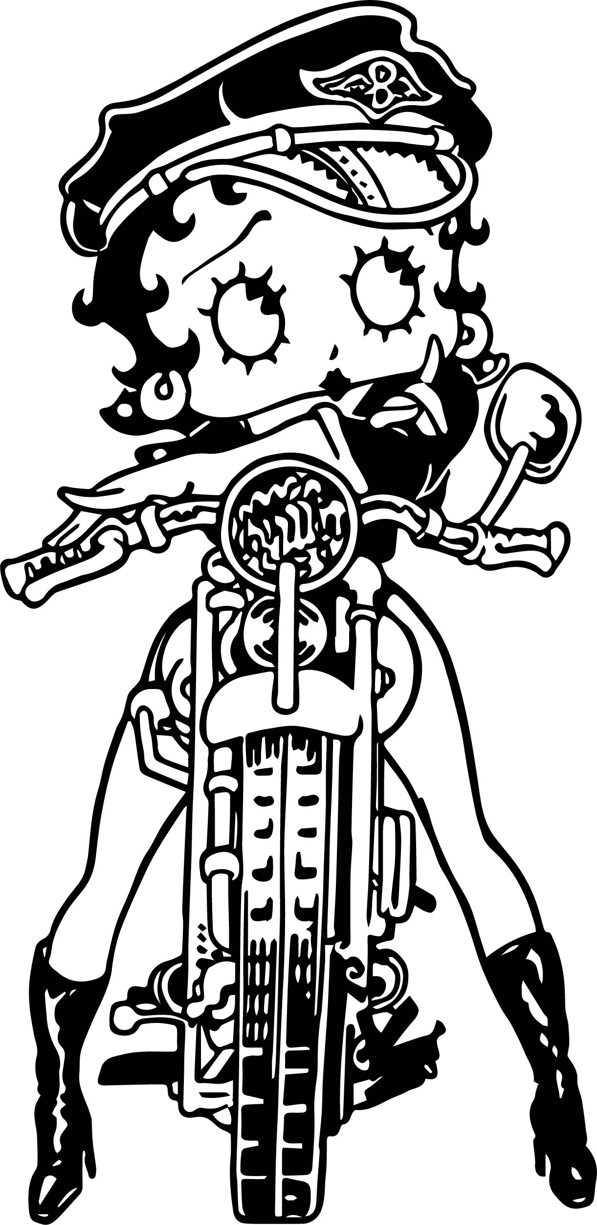 Betty Boop Wild One Motorbycle Coloring Page