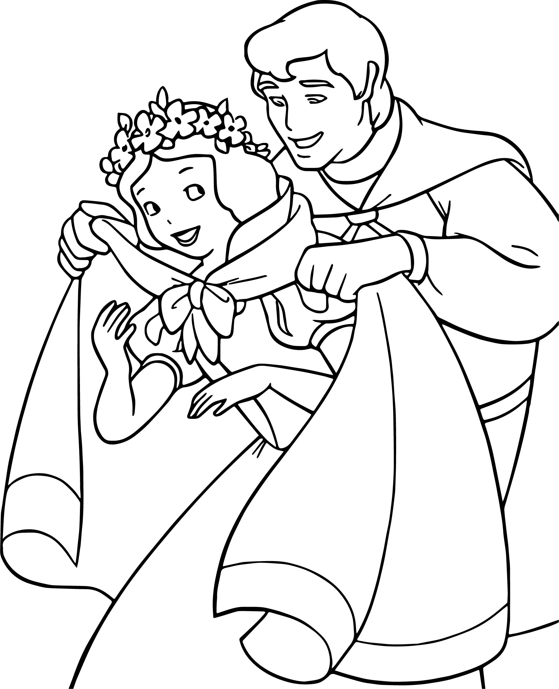 Snow White And The Prince Cold Weather Coloring Page