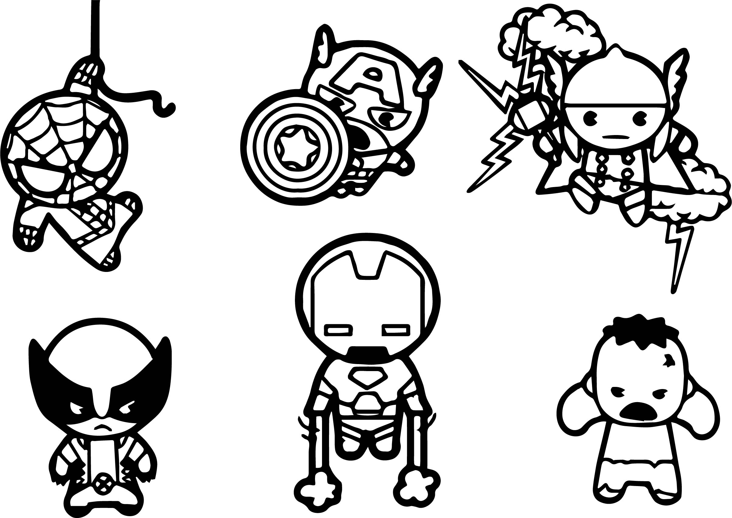 Avengers Baby Chibi Characters Coloring Page