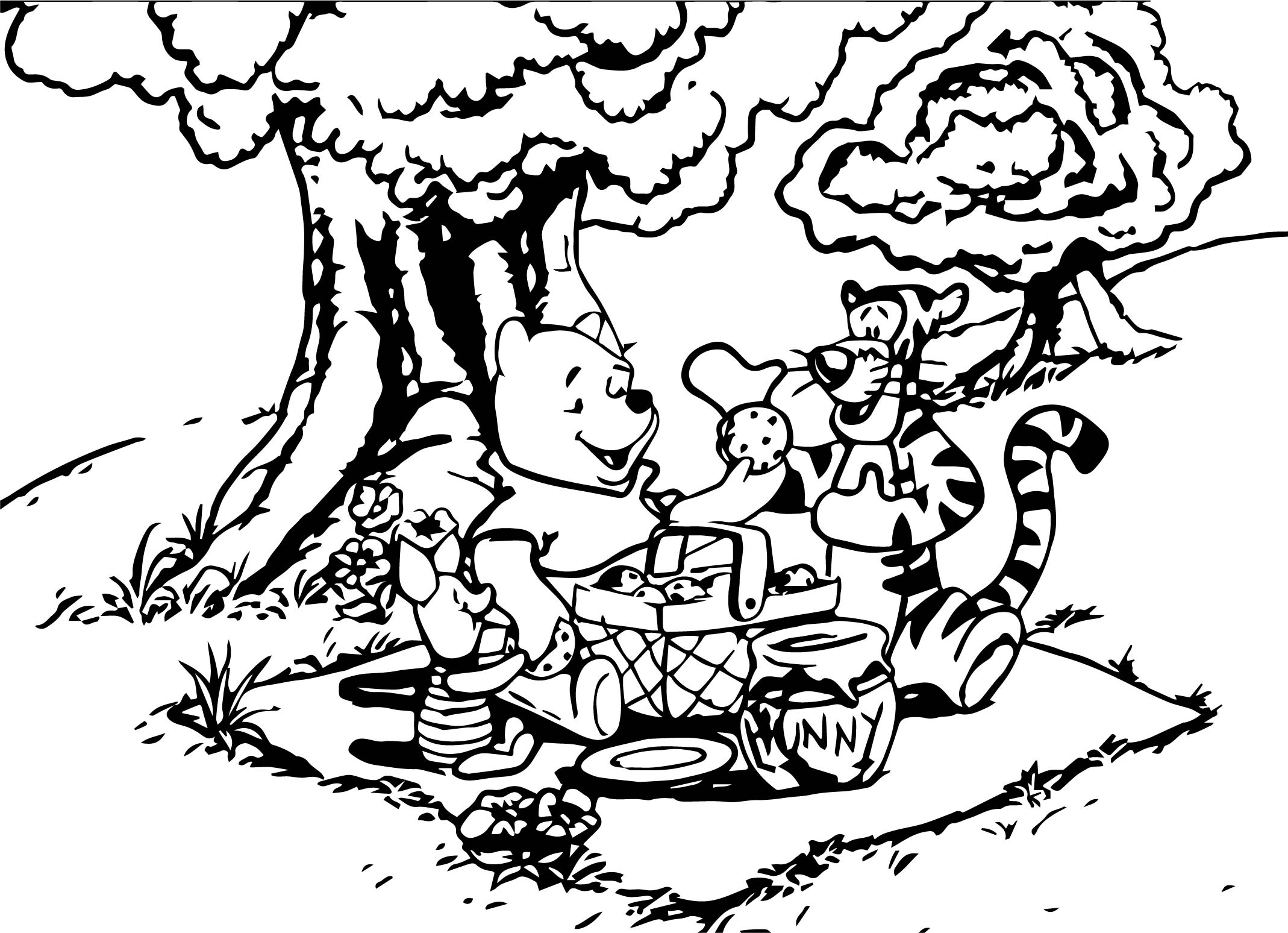 Baby Piglet Winnie The Pooh Tigger Picnic Coloring Page