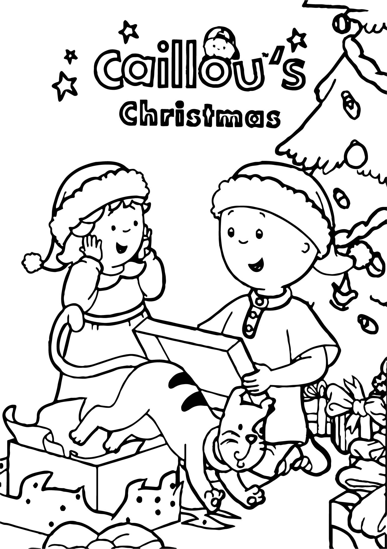 Caillou Sister Chrismas T Coloring Page