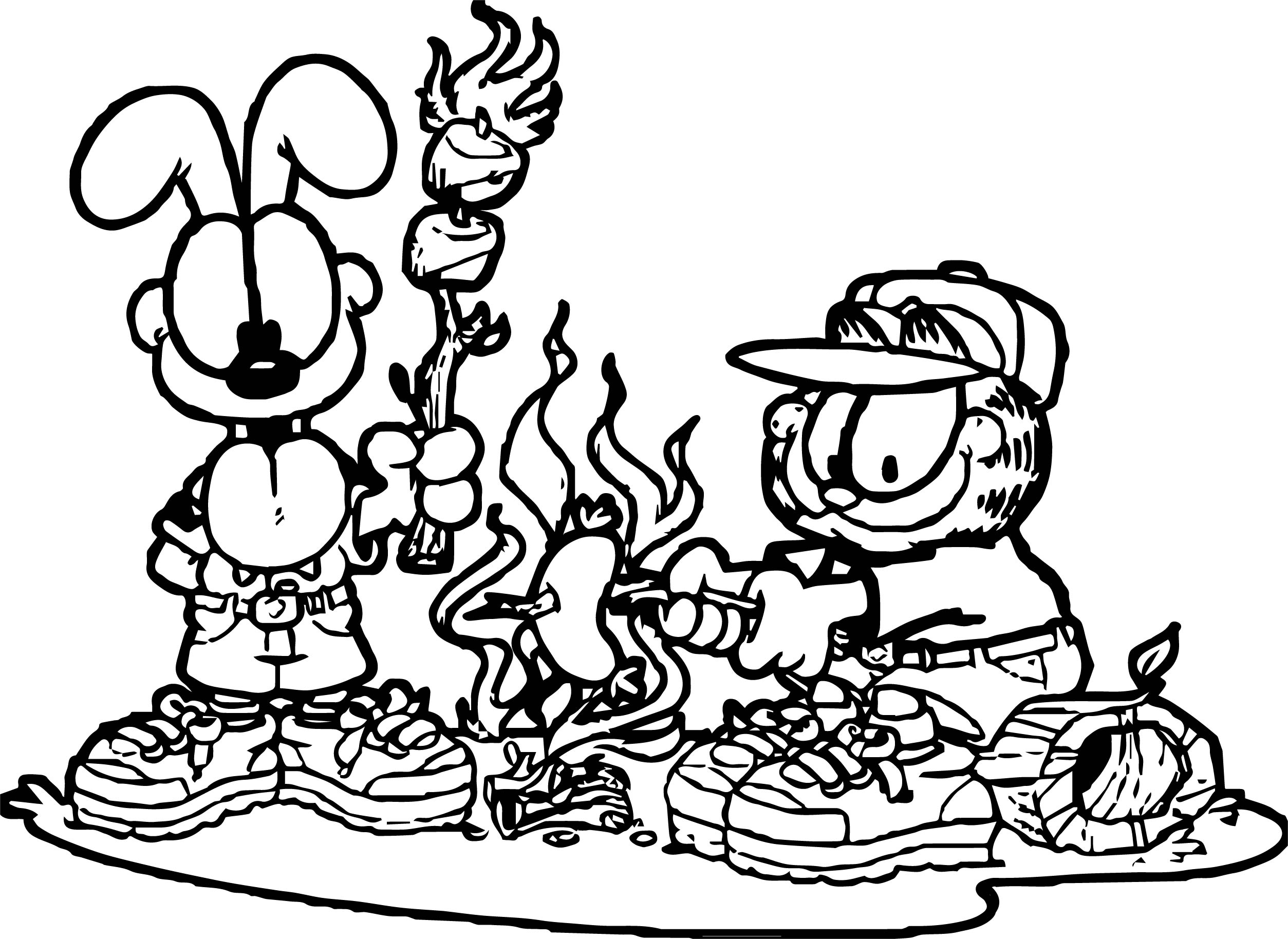 Camping Garfield Coloring Page
