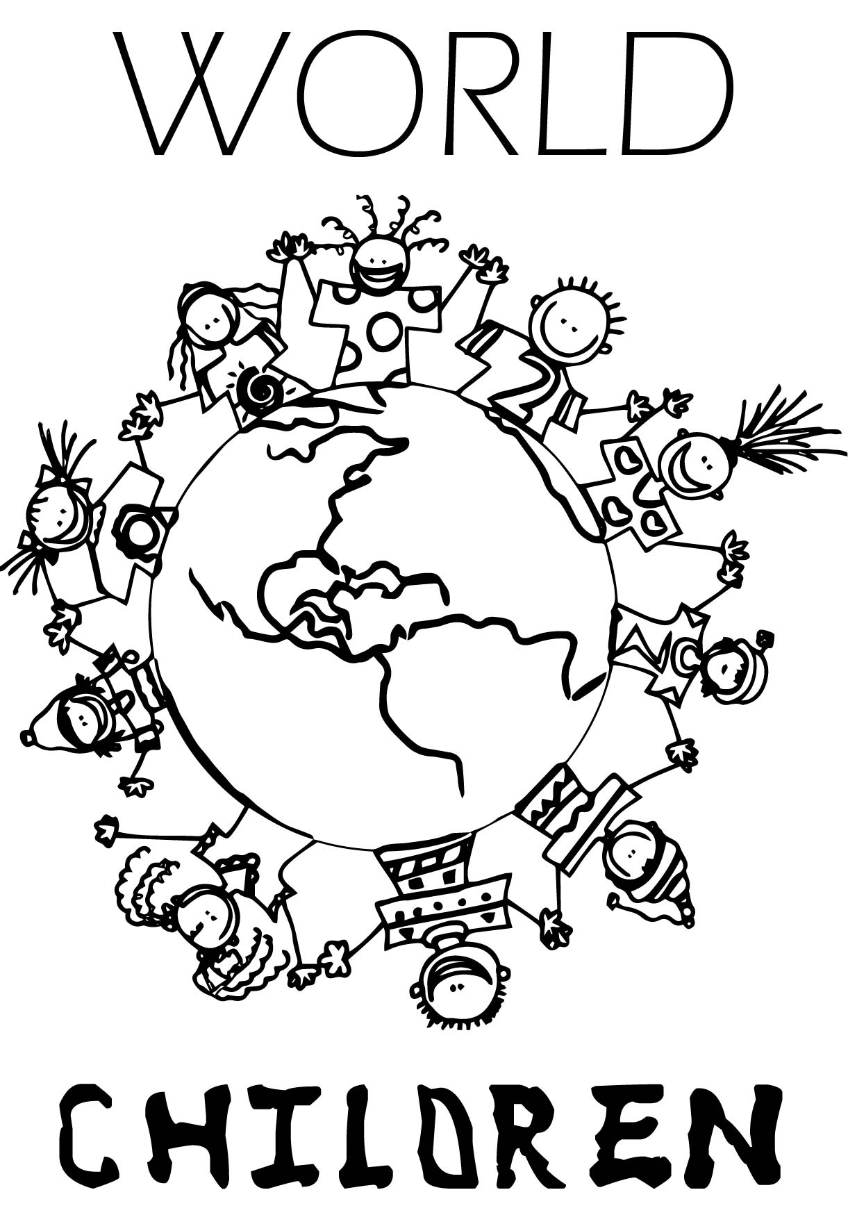 World Childrens Coloring Page Wecoloringpage