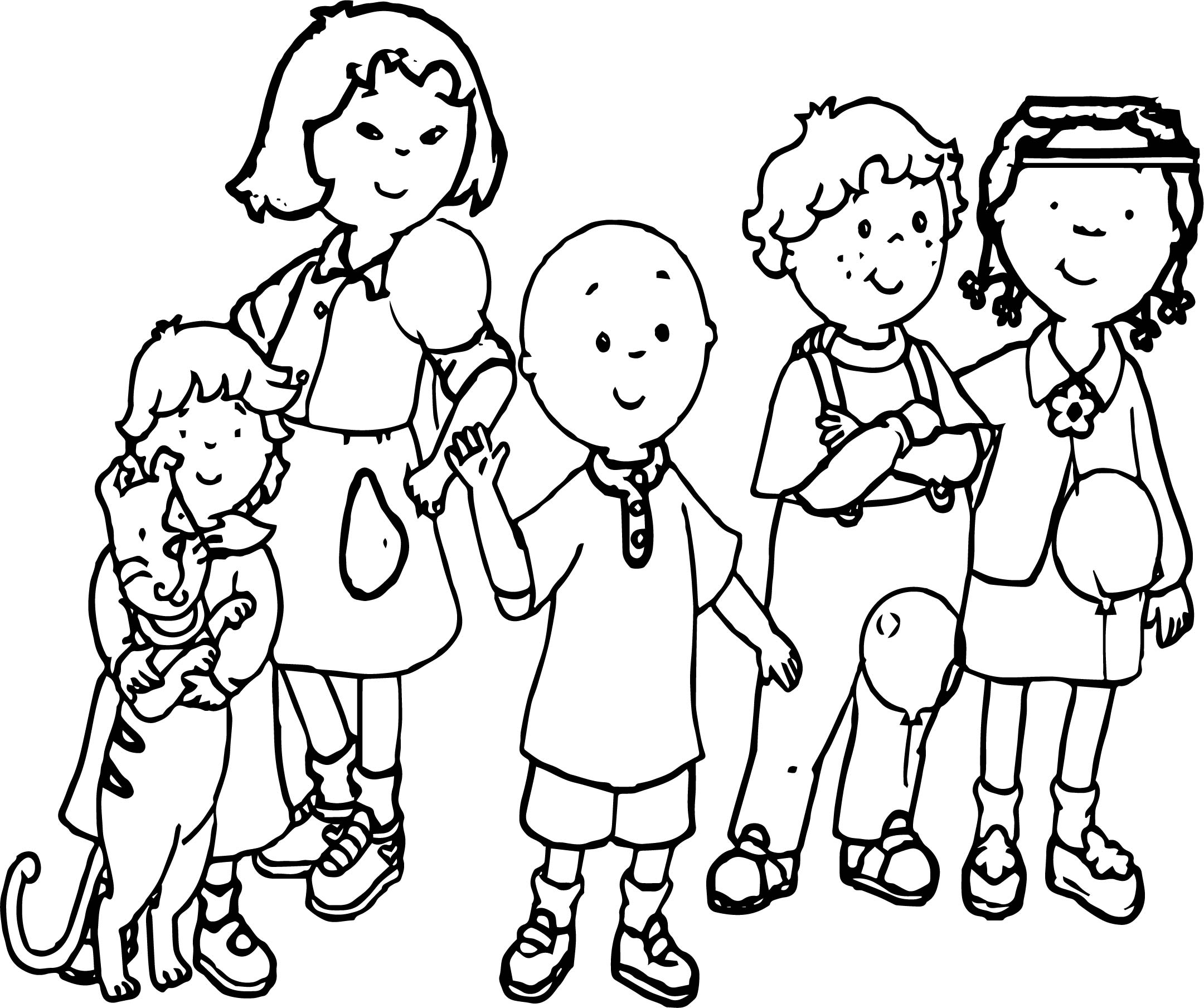 Caillou Together Friends Coloring Page