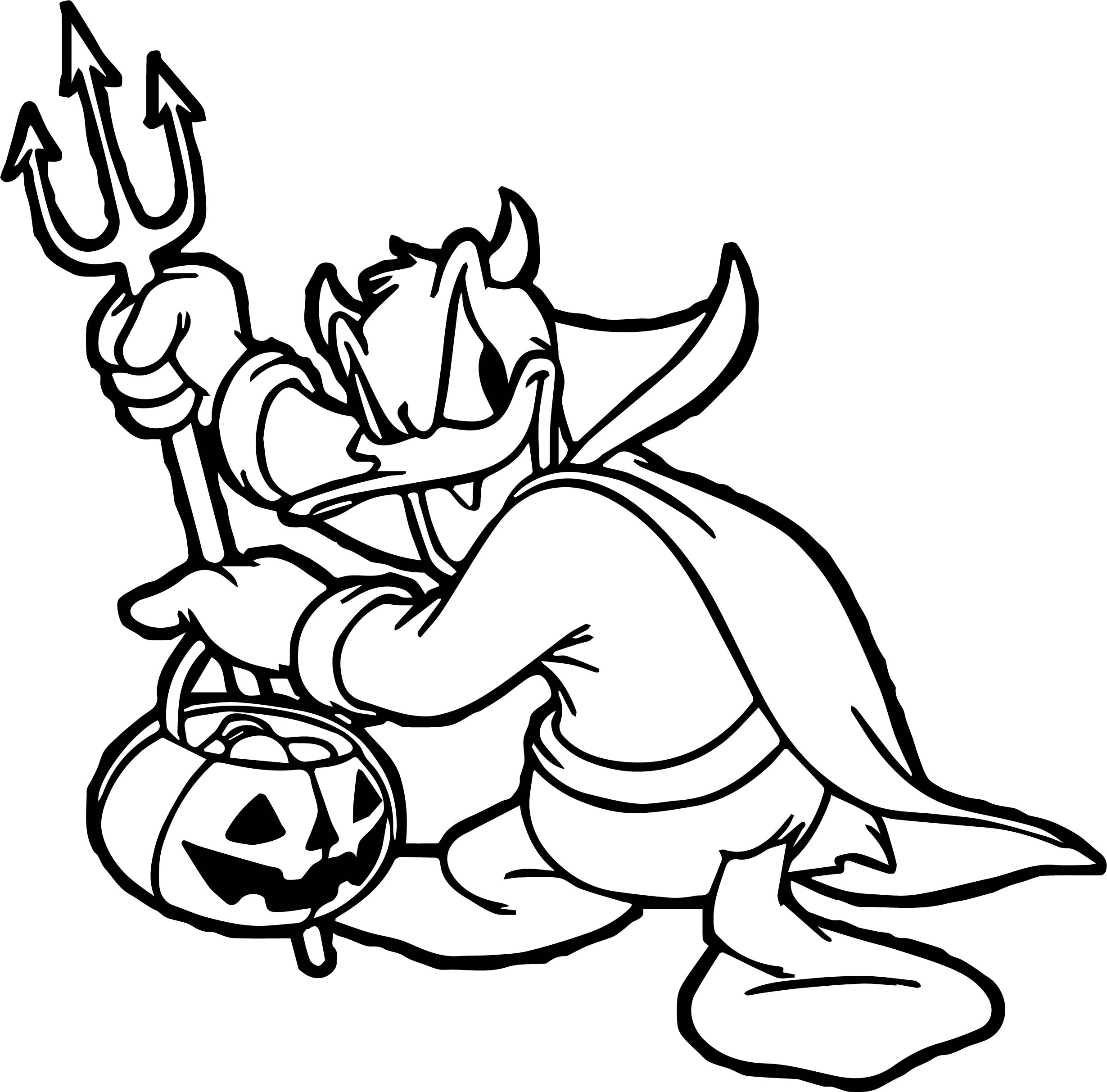 Devil Donald Duck Coloring Page