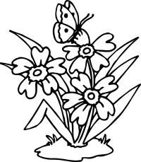 Flowers Butterfly Coloring Page | Wecoloringpage.com