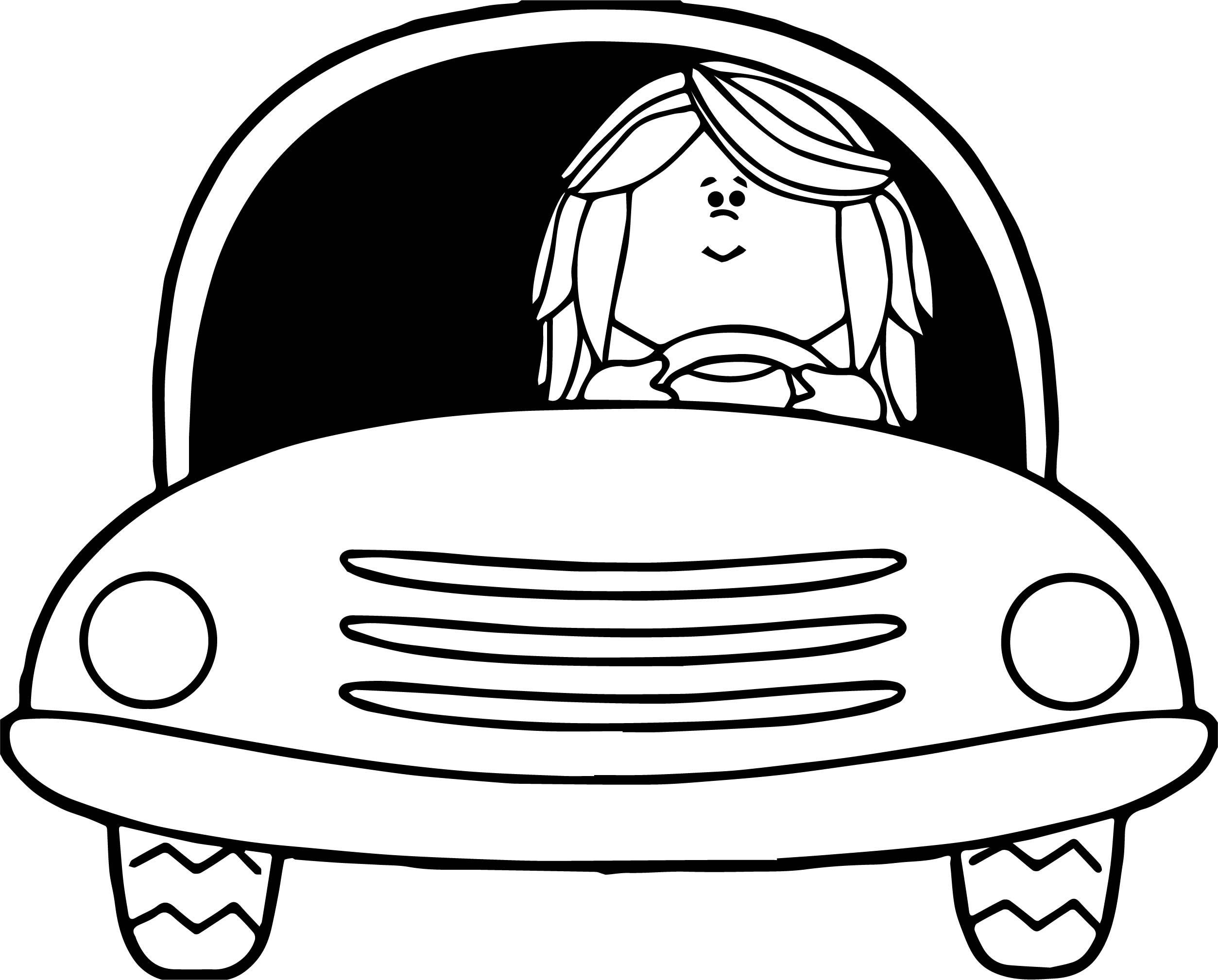 Girl Driving Car Coloring Page