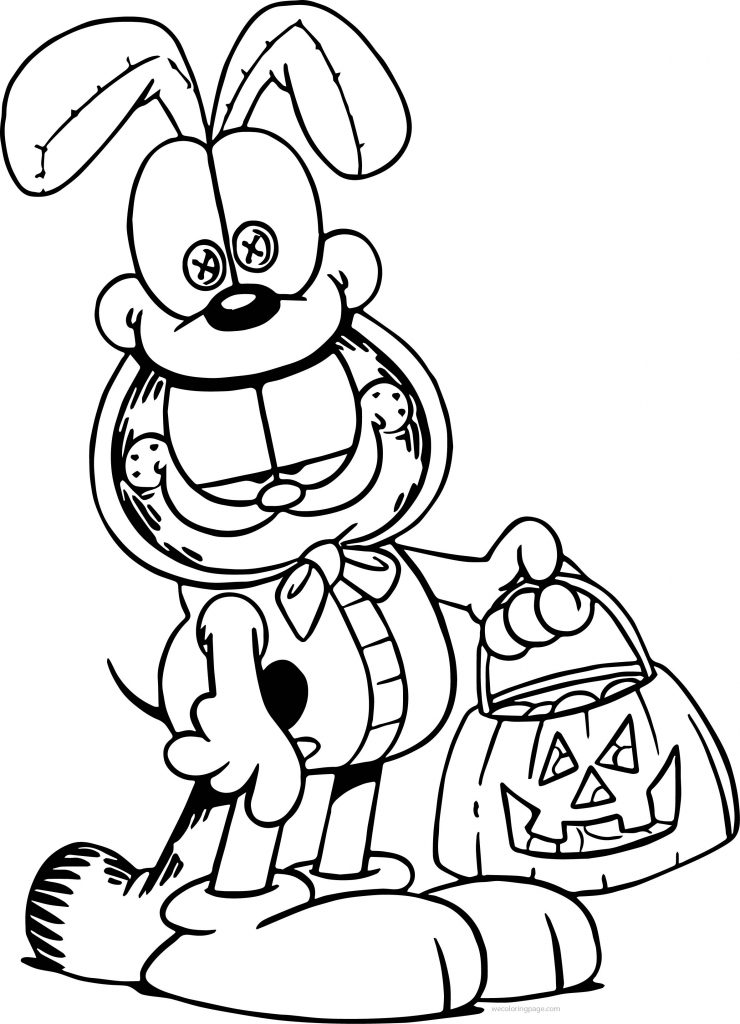 Halloween Garfield Coloring Page Wecoloringpage