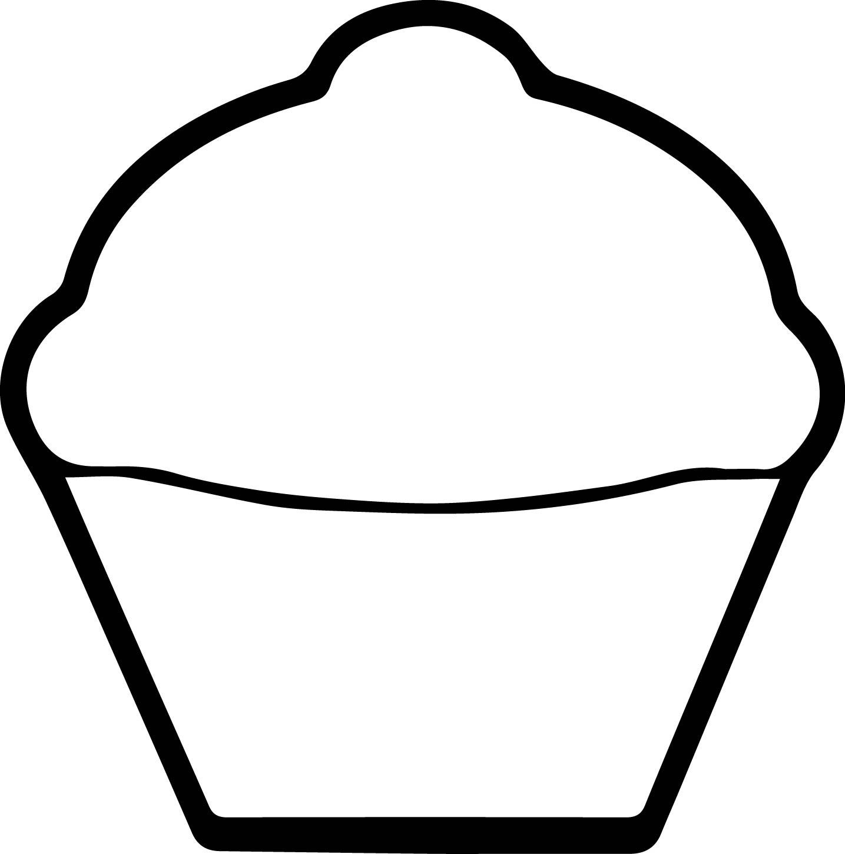 White Cupcake Coloring Page