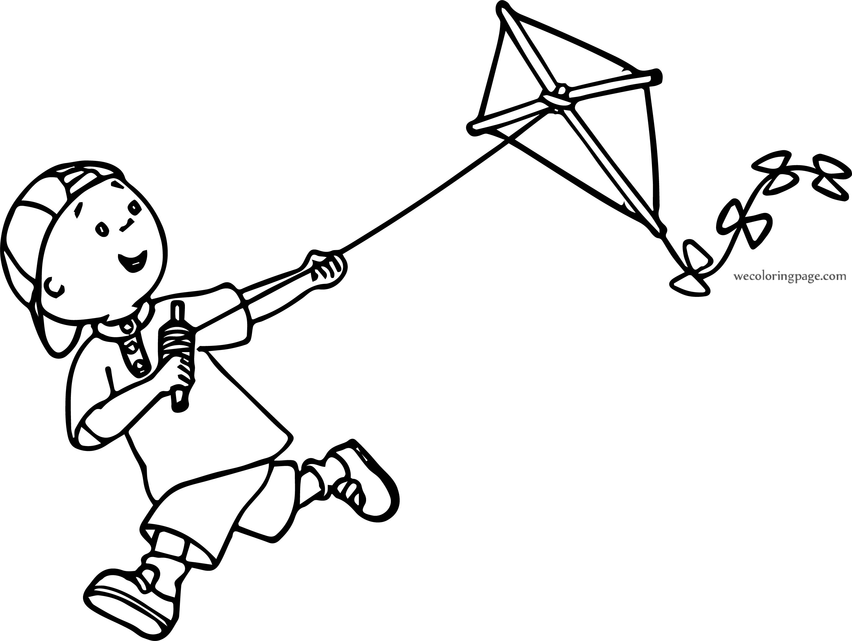 Caillou Kite Coloring Page