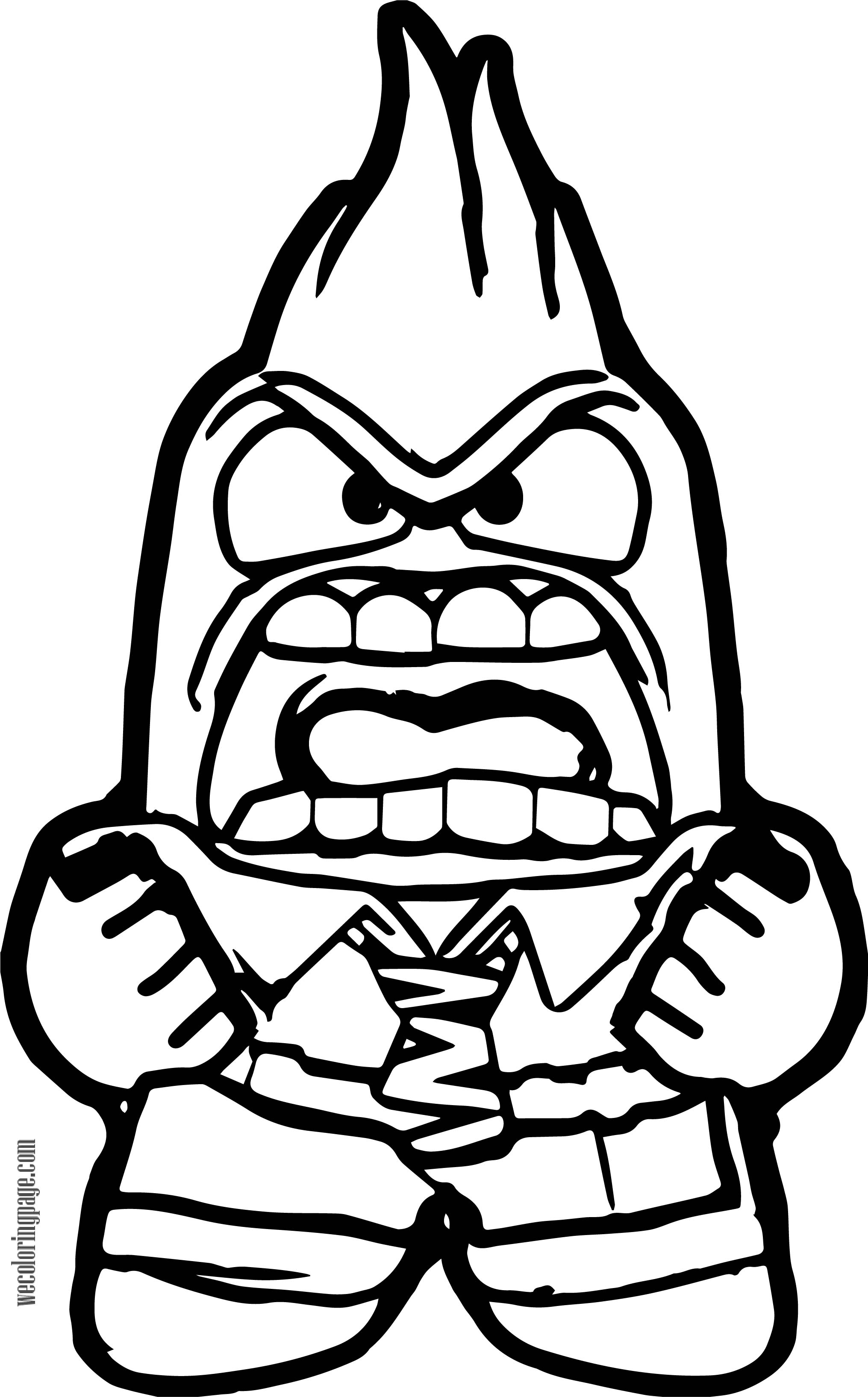Anger On Fire Coloring Page Free Inside Out Sketch