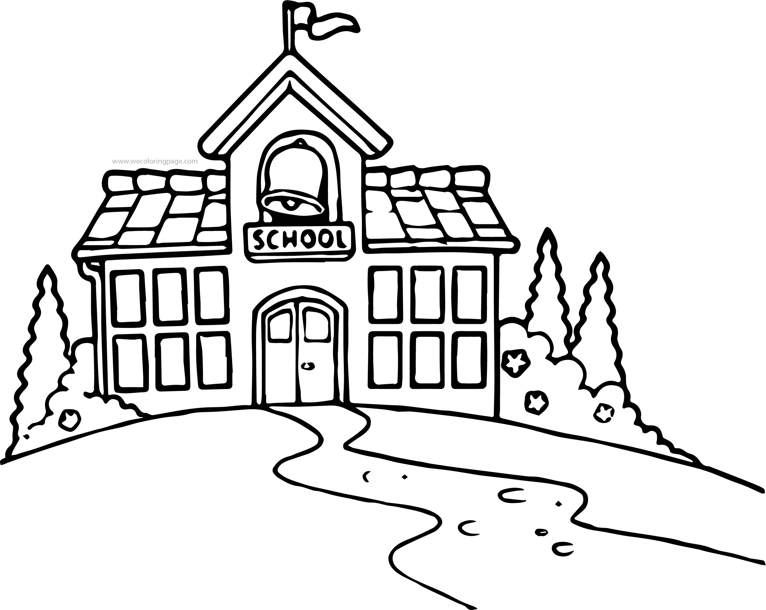 School Building Black And White School Building Coloring