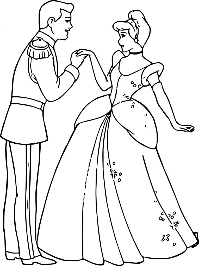 Cinderella And Prince Charming Hand To Hand Coloring Pages