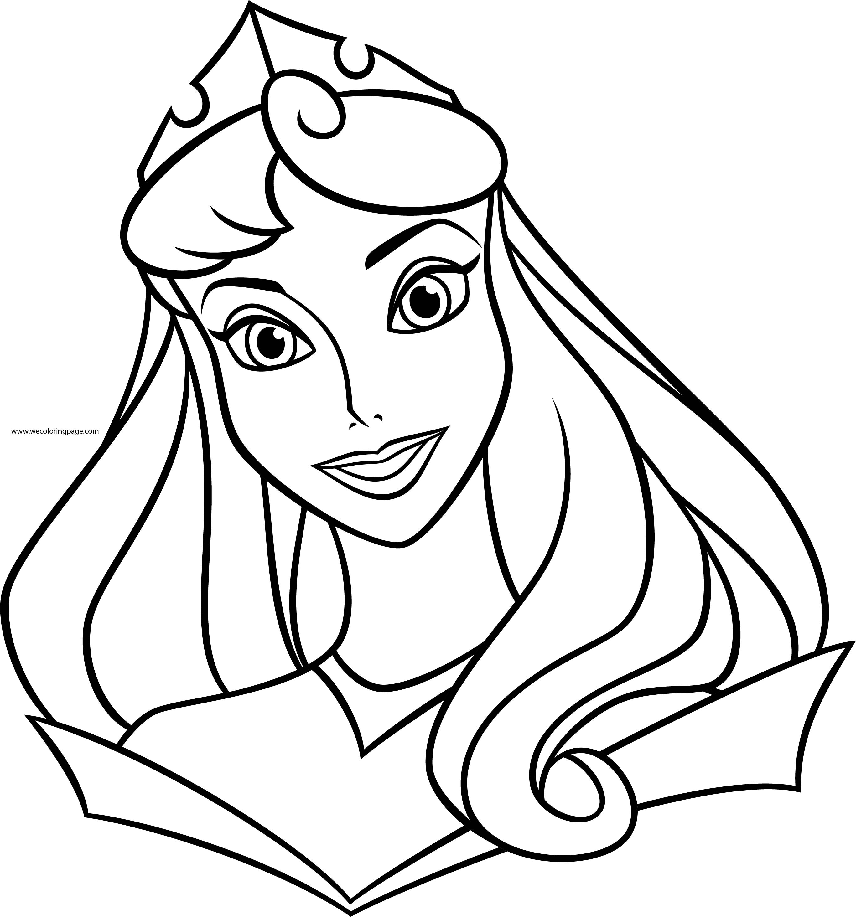 Coloring Page Princess Face Disney Cinderella Princess Big Face