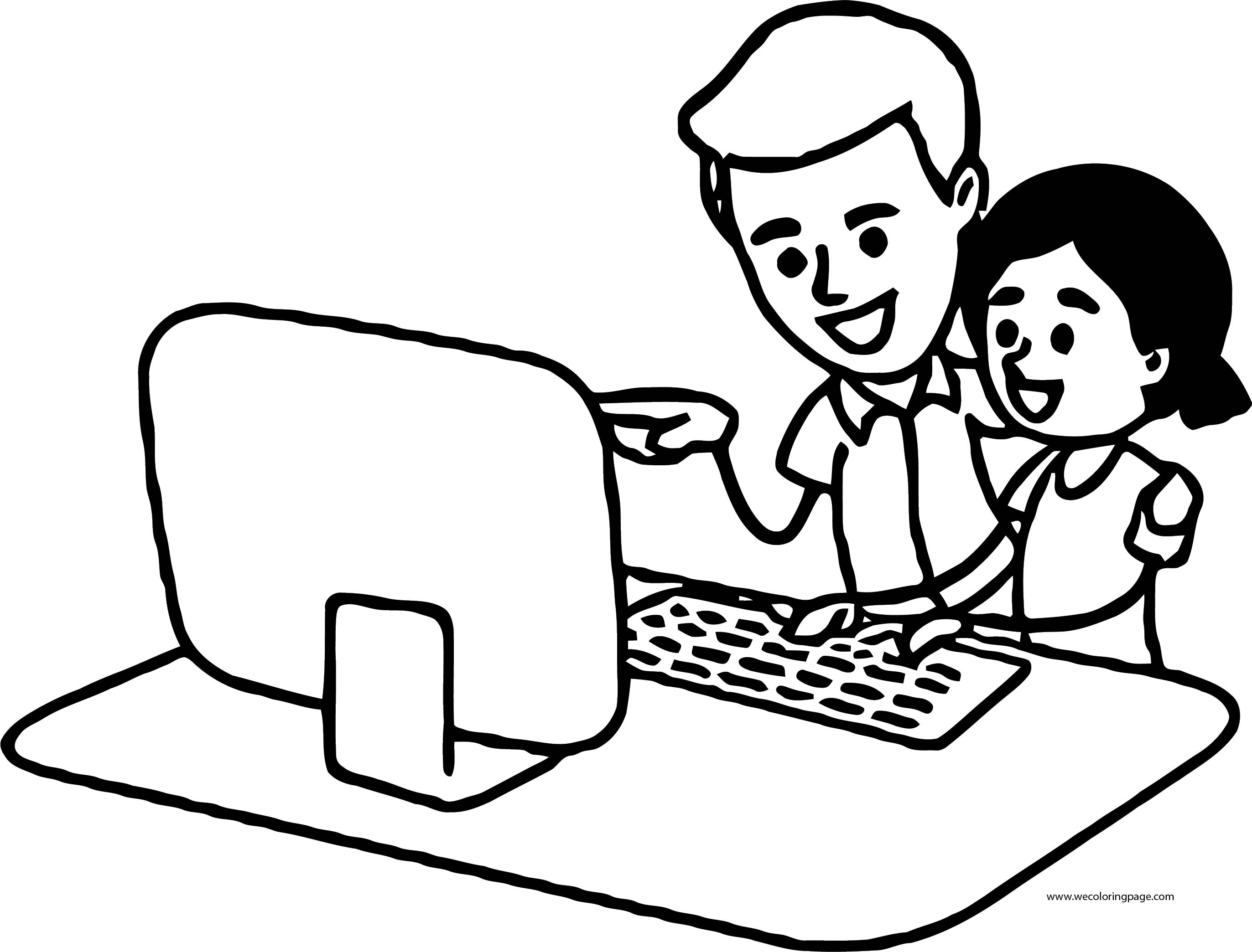 English Teacher Man And Student Girl Computer Coloring