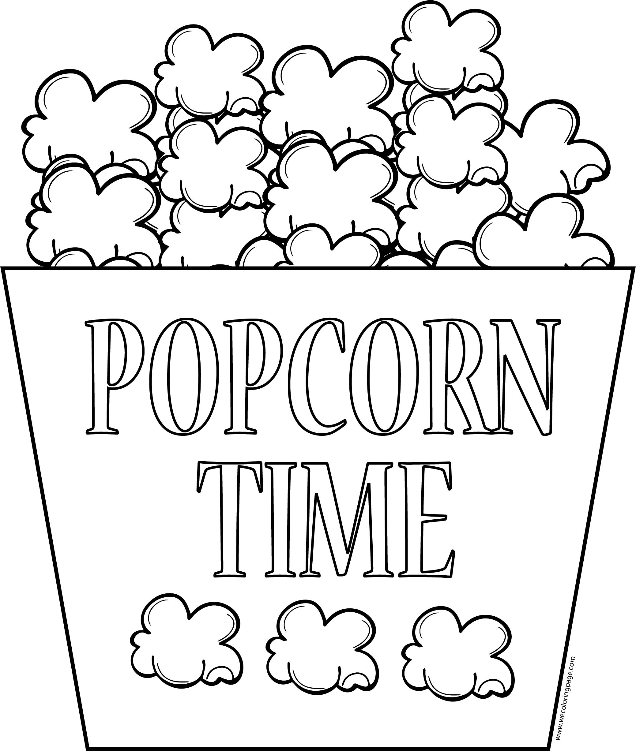 Free Download Popcorn Time Bucket Coloring Page