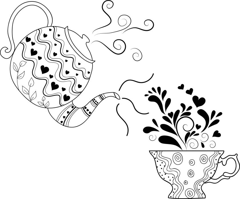 tea drawing pot cup coloring page  wecoloringpage