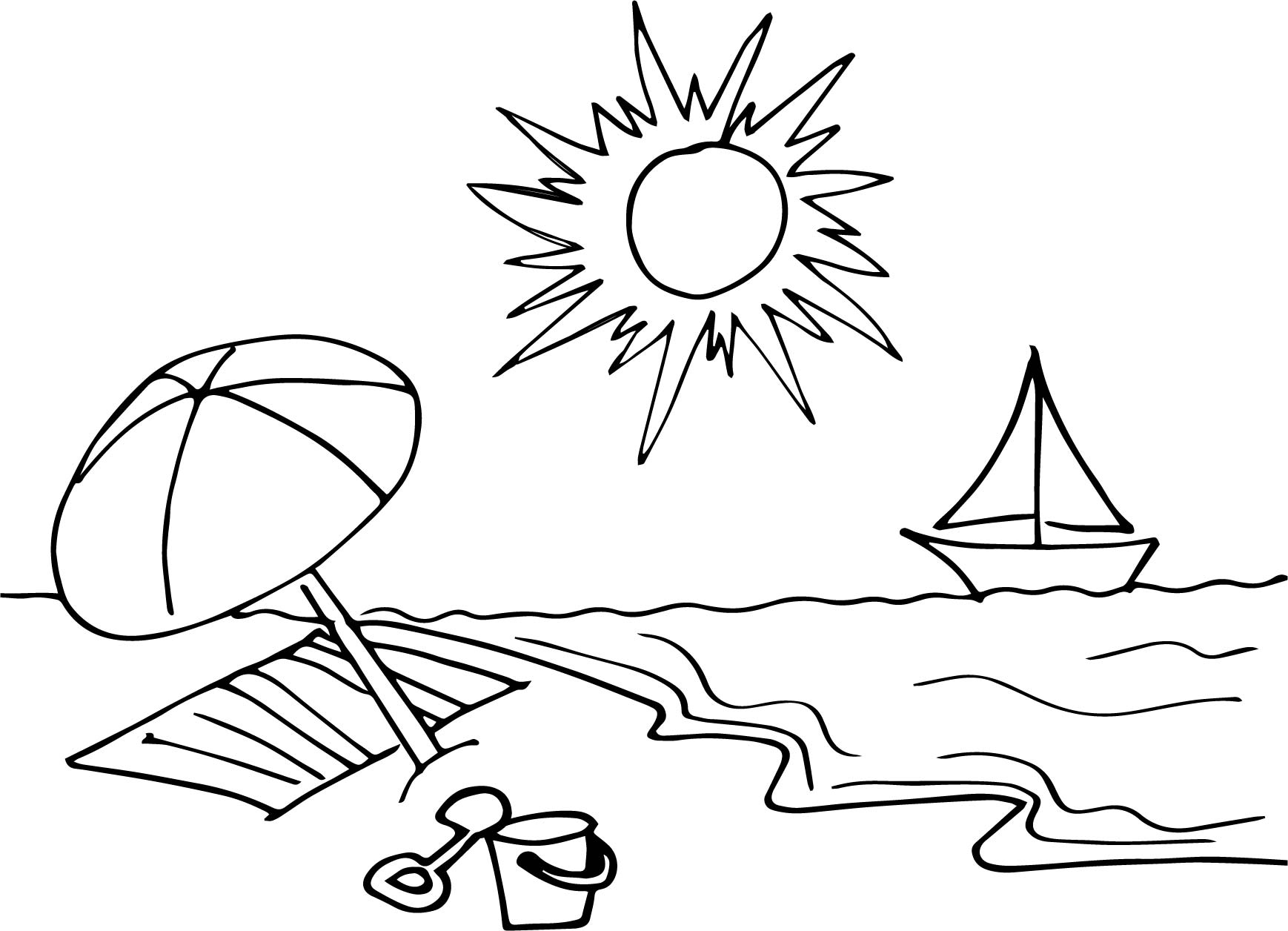 Beach Cartoon Drawing Draw A Coloring Page