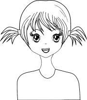 cute basic hair girl manga coloring