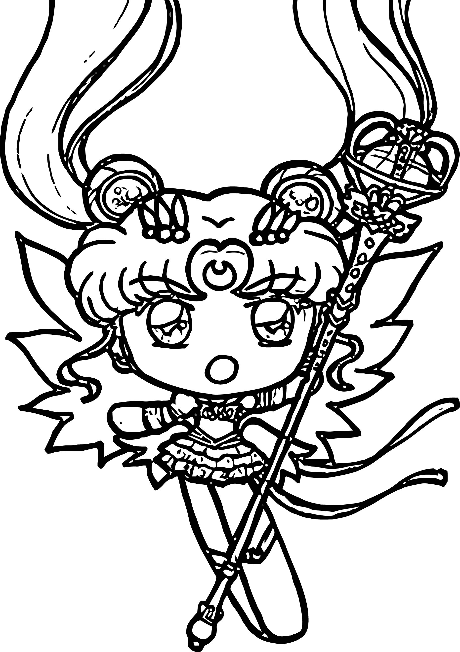 Manga Cute Good Witch Girl Coloring Page