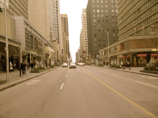 The Toronto streets are empty at 9am on Boxing Day. All is calm.