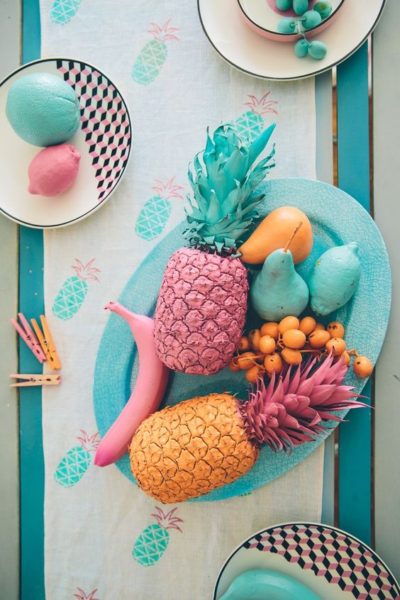 Painted fruits for decor