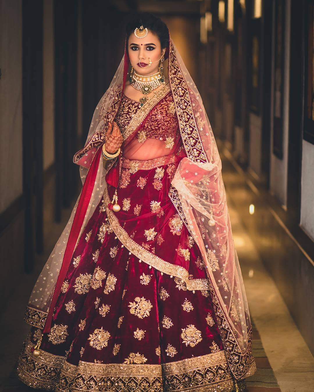wine velvet Bridal Lehenga Designs