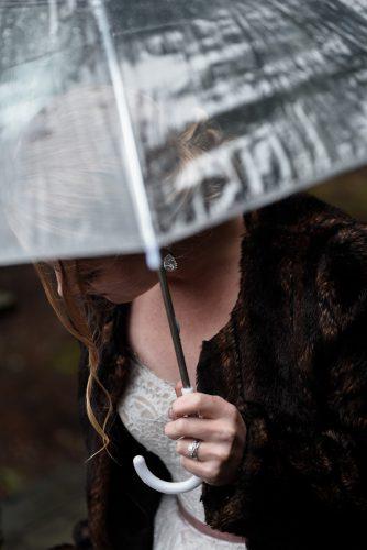 Leah & Jacy. Bride, umbrella, ring