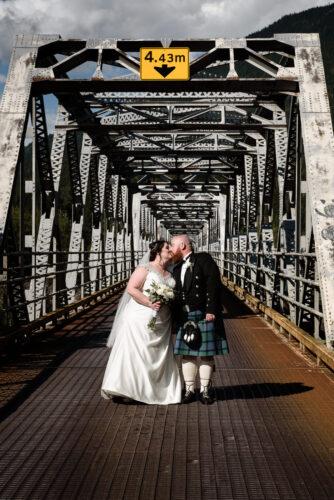 Kelly & Jack - Big Eddy Bridge Wedding Portrait