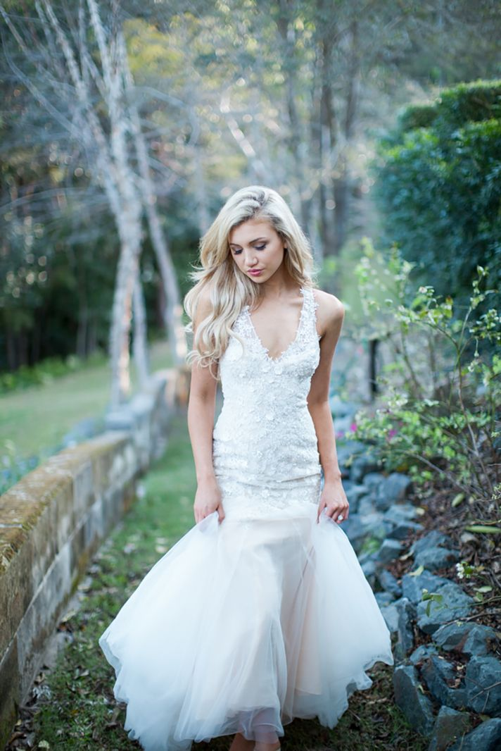 Cara Wedding Dress with Lace and Flower Applique