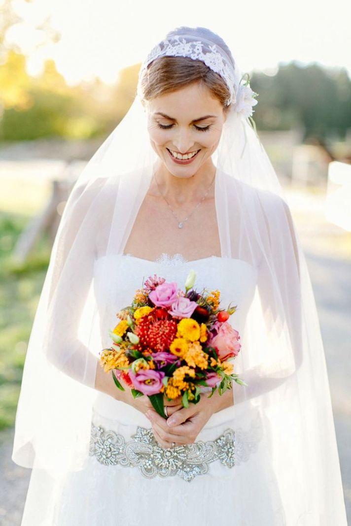Juliet Cap Bridal Veil and Bouquet