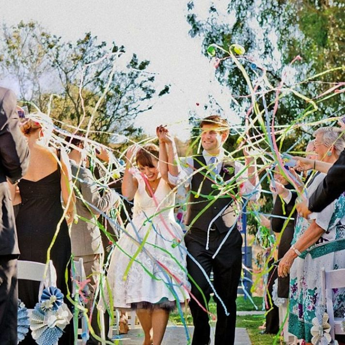 Memorable Wedding Send-Off With Streamers