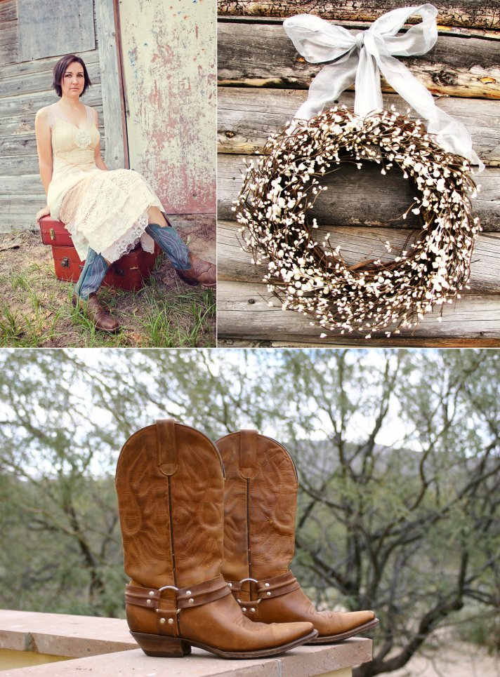 country western themed wedding bride wears cowboy boots rustic reception decor