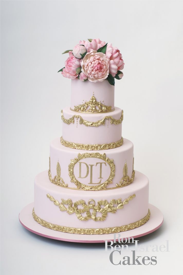 Pink and gold monogram cake with fresh peonies!