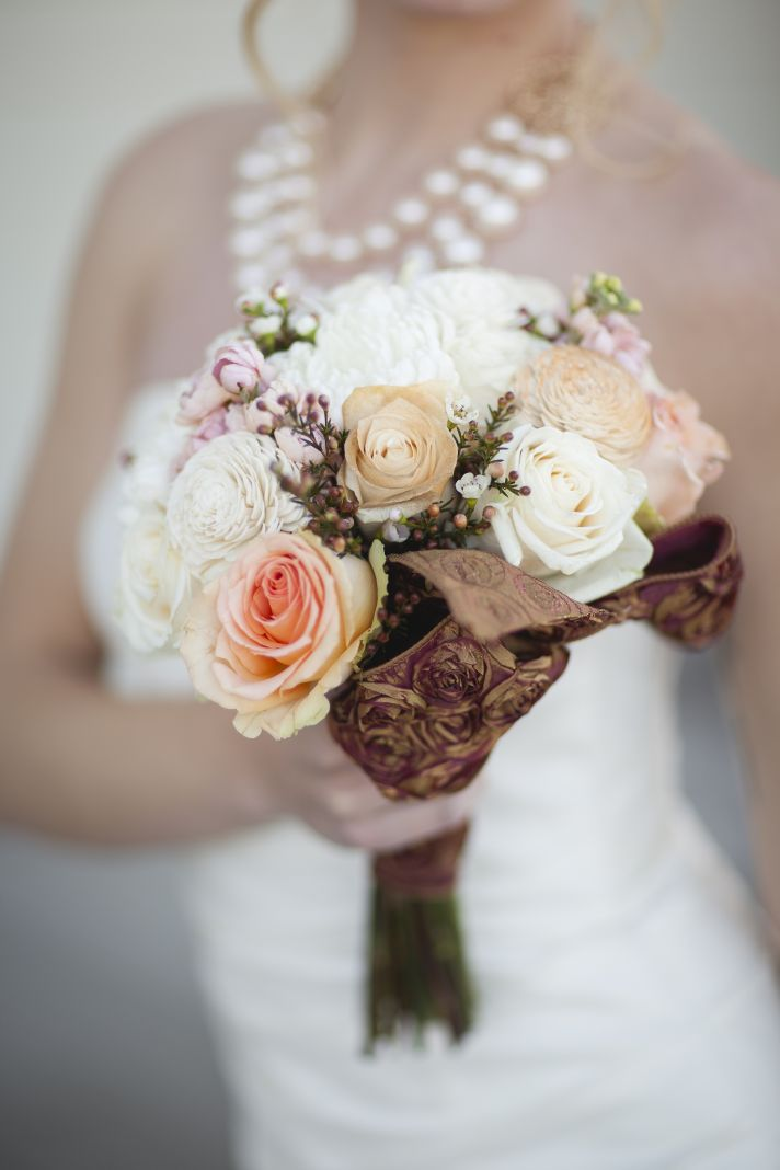Bronze Cream and Pale Peach Wedding Inspiration  OneWed
