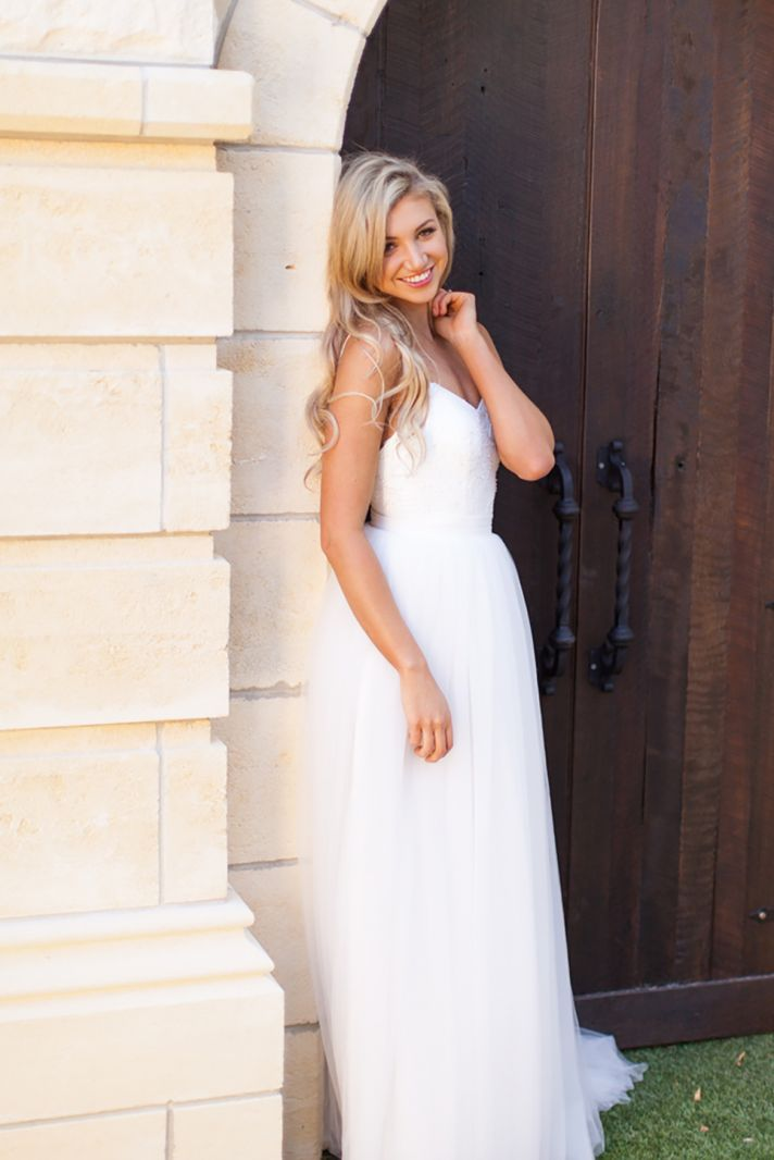 Jayne Wedding Dress with a Mini Waist and Tulle Skirt
